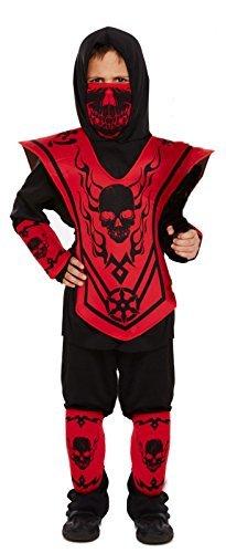 (Fancy Me Jungen 6-TLG. rot schwarz Ninja büchertag Halloween Japanisch Orientalische Kostüm Kleid Outfit - Schwarz/Rot, 4-6 Years)