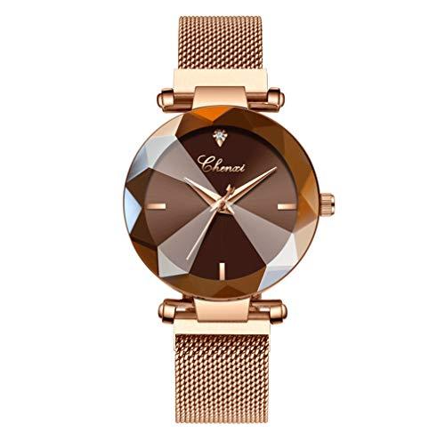 Hswt Damenuhr Mode Quarzuhr für Frauen Edelstahl Maschenband Magnetschnalle Wasserdicht Zubehör mit Spiegelglas ansehen,Brown