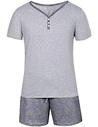 Aibrou Herren Schlafanzug Pyjama Kurz Sommer Baumwolle Nachtwäsche Kurzarm Oberteil Kurze Shorty Hausanzug Sleepwear
