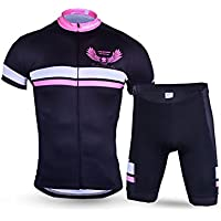 XDXDWEWERT Pantalones de Ciclismo Pantalones de Montar en BIC Conjunto de Ropa de Ciclismo para Hombres Camiseta de Manga Corta Transpirable de Secado rápido Jersey + 3D Shorts Wing M