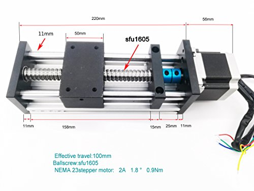 Electric Linear Guide Slide 1605 Ball Bearing Screw Manual Slip Cross Module Stepping Servo Motor CNC Stage Actuator Stepper Motor 100mm (View Amazon Detail Page)