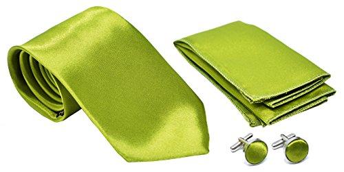 Kingsquare Herren Krawatte, Einstecktuch und Manschettenknöpfe - Grün -