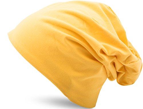 Jersey Baumwolle elastisches Long Slouch Beanie Unisex Mütze Heather in 35 verschiedenen Farben (3) (Yellow)
