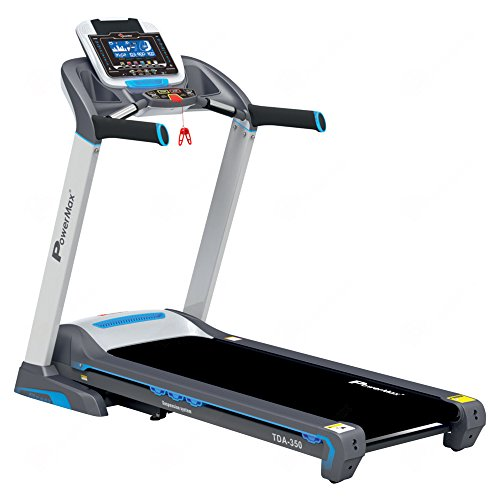 PowerMax Fitness TDA-350 (3.0 HP) 7inch Blue LCD Display with 400m Track UI & 18 Level Auto Incline, Motorized Treadmill for Cardio Workout (Free Installation Service)