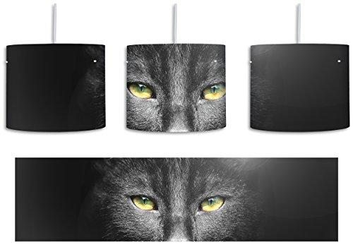 Katzenkopf mit düsterem Hintergrund schwarz/weiß inkl. Lampenfassung E27, Lampe mit Motivdruck, tolle Deckenlampe, Hängelampe, Pendelleuchte - Durchmesser 30cm - Dekoration mit Licht ideal für Wohnzimmer, Kinderzimmer, Schlafzimmer