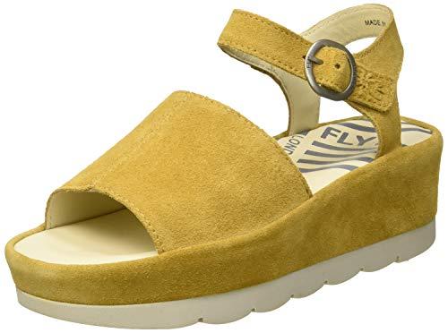 Zapatos de plataforma amarillos con punta descubierta