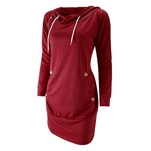 Eleery Robe Mini Pullover Femme Manches Longues Sweater à Capuche Zip Automne Hiver Sexy Poche Lâche Rouge