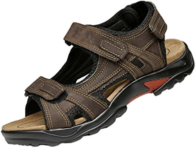 Sandalias de Cuero para Hombres Verano Exterior Senderismo Sandalias de Playa - hibote #18051604