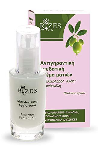 Augencreme für Frauen | pflegende anti-falten augencreme mit bio olivenöl, aloe vera, panthenö und Anti-Aging-Peptiden | rizes crete | Naturkosmetik | 30 ml