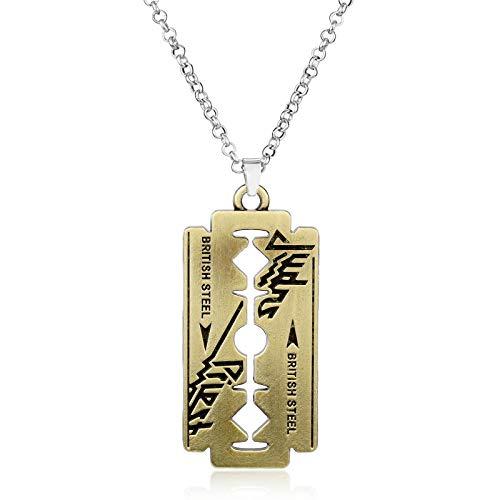 DADATU Halsketten für Herren Mode Musik Band Judas Priester Halskette Razor Blade Form Anhänger Halsketten Freundschaft Geschenk Schmuck Zubehör (Judas Kostüm)