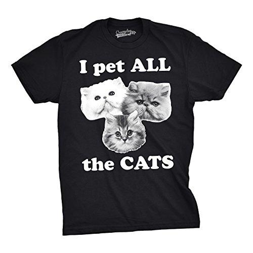 Crazy Dog Tshirts - Mens I Pet All The Cats Funny Cat Face T Shirts Hilarious Kitten Novelty T Shirt...