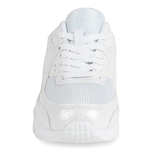 Trendige Unisex Laufschuhe | Damen Herren Kinder | Sportschuhe Metallic Glitzer | Camouflage Sneaker Bunt | Schnür Sport Turnschuhe Weiss White