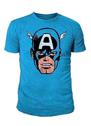 Marvel Comics - Captain America Herren T-Shirt - Face (Cobalt) (S-XL) - Avengers 2 Deluxe Hulk Kostüm