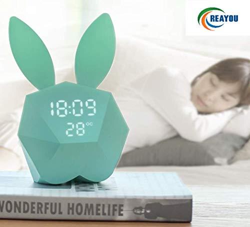 REAYOU Kinder Nachtlicht Bunny Rabbit Lampe Nachttisch Nachtlampe Warmweiß, mit Wecker Funktion- Led Voice aktiviert für Kinder Mädchen (Grüne Mädchen-uhr)