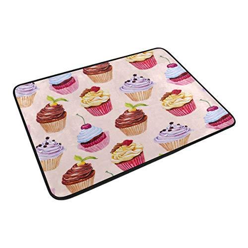 XiangHeFu Alfombra de 23,6 x 15,7 Pulgadas, diseño de Cupcakes Coloridos, Alfombra Suave Personalizable...
