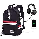 Zaino scuola College Bookbag per portatile della borsa zaino da viaggio zaino per bambine, da uomo e da donna nero Black with USB Port headphone jack