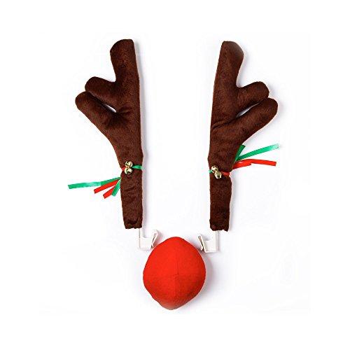 soxid (TM) Weihnachten Auto-Dekoration Rentier Geweih und Nase Horn Kostüm-Set Kleid bis Auto Rentier Geweih Kit mit Nase