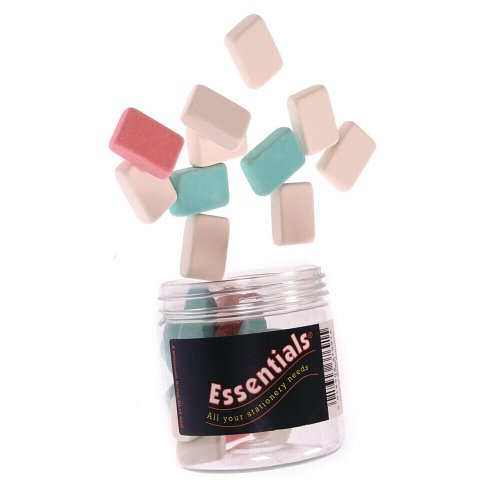 whitecroft-essentials-stationery-tubs-pencil-erasers-assorted-colours-pack-of-25