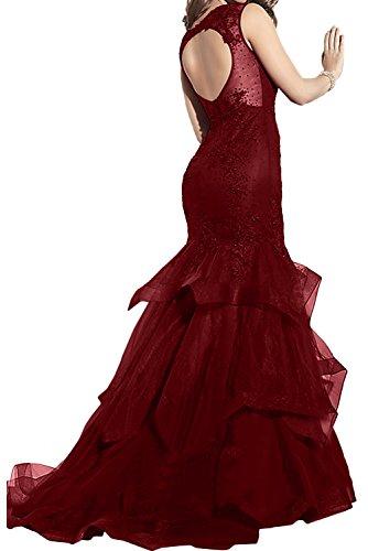 Toscana sposa donna rotondo sirena vino rosso di sera vestiti lungo tulle applicazione Ball vestiti prom abiti Nero