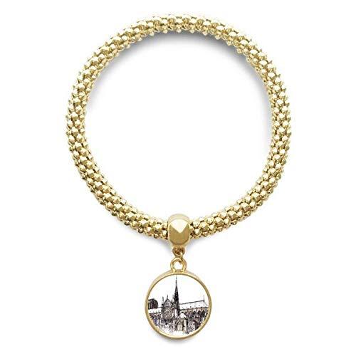 Haoda Damen Notre-Dame de Paris In Frankreich Goldene Armband Laufende Anhänger Schmuck-Kette (Frankreich Kostüm Schmuck)