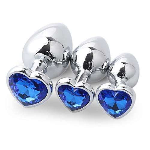 Productos para Adultos, BaZhaHei, 3 Piezas Base en Forma un Conjunto de Tapones anales en Forma de corazón Plata de Metal en la Parte Trasera Anal Juguetes alternativos Juguetes sexuales establecidos