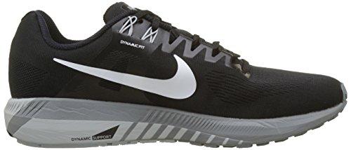 Nike Air Zoom Structure 21, Chaussures de Running Homme Noir (Noir/Gris Loup/Gris Froid/Blanc 001)