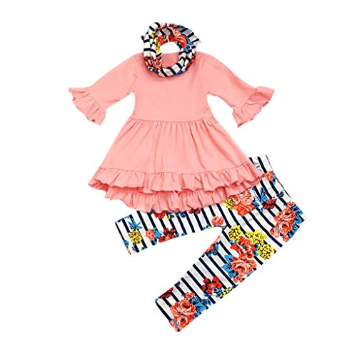 Bekleidung Set 3PC Kleinkind Kinder 2018 Babybekleidung LianMengMVP Baby Mädchen Feste Tops Floral Stripe Pants + Stirnband Outfits Set LianMengMVP 18Monate-6Jahr