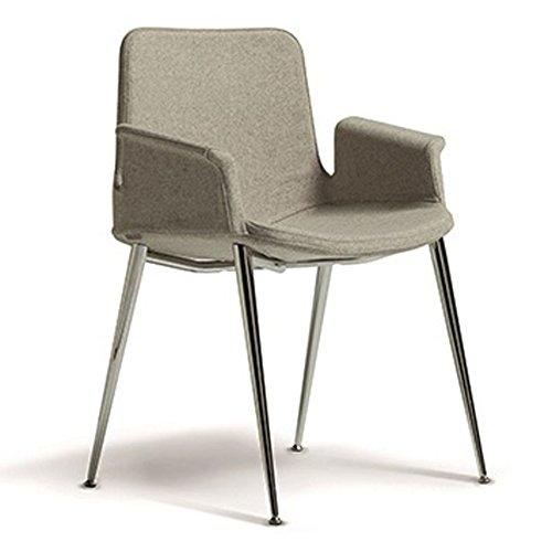 Milani poltroncina miro' con gambe cromate in tessuto comfort (grigio antracite)