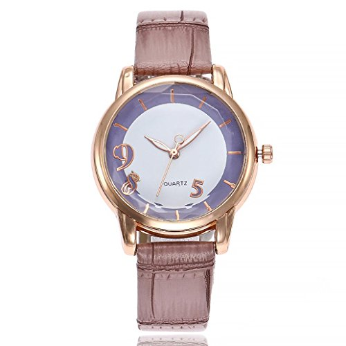 Uhren DELLIN V251 Beiläufige Quarz Lederband Newv Bügel Uhr Analoge Armbanduhr der Frauen (Violett)
