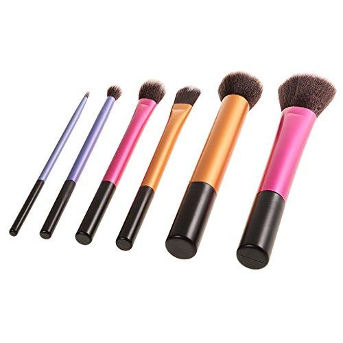 perfk Lot 6x Professionnel Pinceaux de Maquillage Fond de Teint Poudre Eyeliner Contour Lustrage Correcteur Anti-cernes