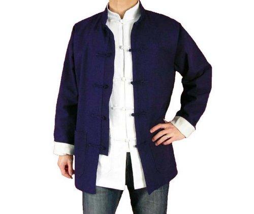 100% Coton Col Mao Veste Bleue Tai Chi Arts Martiaux Blouson Homme Tailleur #123