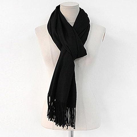 gruesa bufanda bufanda larga estudiante de invierno color sólido femenino masculino de la bufanda ( Color : Negro )