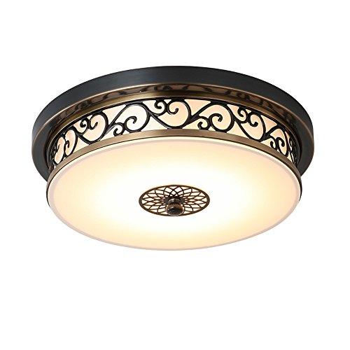 KAIRRY American Retro Deckenleuchte Deckenbeleuchtung DeckenLampen LED Schwarz Eisen Geschnitzt Lampenkörper Runde Glas Lampen Landhaus Licht Schlafzimmer (Color : Warmes Licht, Größe : 50CM 36W)
