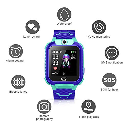DokFin Kinder SOS Smart Watch, Multifunktionale wasserdichte Armbanduhr mit Remote-Kamera / 2G Watch Call/SMS-Benachrichtigungen/Spiel/Taschenlampe/Voice-Chat-Funktion (Monitoring Verizon Home)
