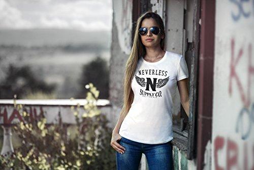 Neverless Damen T-Shirt Adler Wings Slim Fit Adler weiß