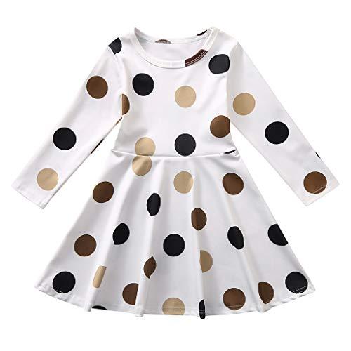 Dot Print Kurze (Tensay Kleinkind Kinder Baby Mädchen Langarm Dot Print Prinzessin Freizeit Kleid Rundhals Kleidung)