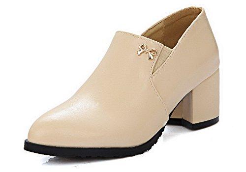 AllhqFashion Femme Élastique Pointu à Talon Correct Pu Cuir Couleur Unie Chaussures Légeres Abricot