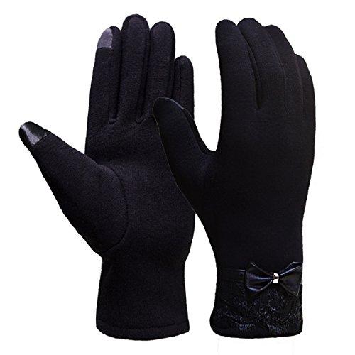 Heekpek® Guantes de pantalla táctil Guantes cálidos Flocado Guantes con cordones Guantes (Negro)