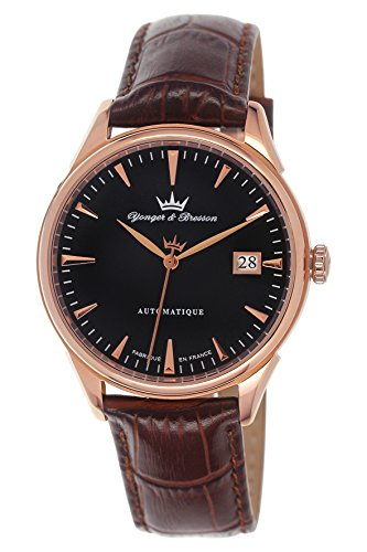Yonger & Bresson – YBH 8362-07 – Amboise – Watch Men – Automatic – black dial – Analogue Brown Leather Strap