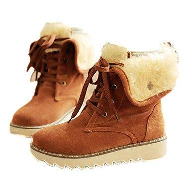Wuyulunbi @ Femmes Chaussures Printemps Automne Confort Bottes De Neige Coin Talon Bout Rond Dentelle Loisirs Bottes Brun Jaune Us8 / Eu39 / Uk6 / Cn39