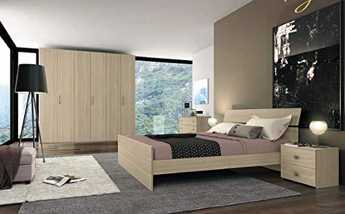 Klipick camera da letto, matrimoniale, completa. armadio a 6 ante, comó, coppia di comodini, specchio, letto fisso matrimoniale (rete non inclusa).