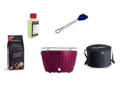 LotusGrill Barbecue Kit de démarrage 1x Lotus Barbecue charbon de bois de hêtre/Prune/Mauve 1x 1kg, 1x Pâte à combustible Bleu Outremer 200ml, 1x Pinceau, 1x sac de transport