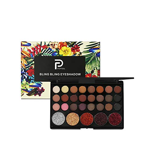 OYOTRIC 29 Colors Metallic Shimmer Eye Shadow Palette Glitter Highly Pigmented Mineral Cosmetic Makeup Matte Eyeshadow Make-up Powder -