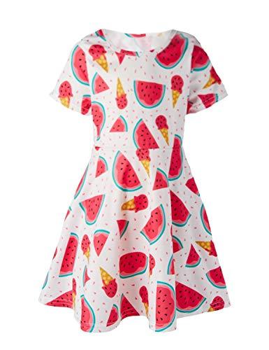 Funnycokid Kleinkind Mädchen Kleider Sommer Kurzarm Drucken Wassermelone Party ()