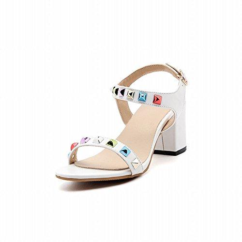 Fivela Sapatos Mee Mulheres Saltos Altos Com Rebites Sandálias Brancas
