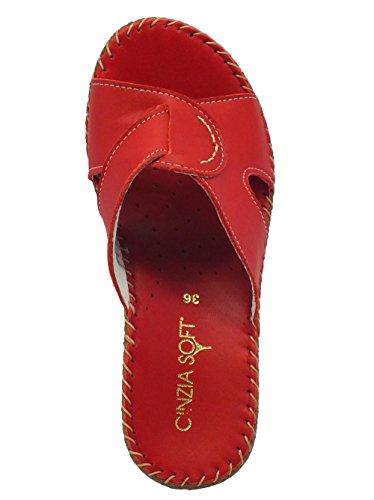 Sandalo Cinzia Soft per donna in pelle rossa con zeppa Rosso
