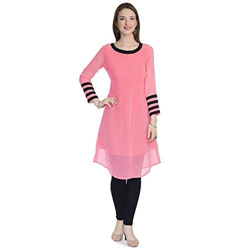 jsv fashion Women's Pink Georgette RAgularWear Kurtis