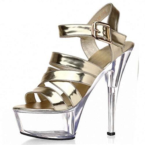 XSPDX Damen High Heel Plattform Pumpe Sandalen Gladiator Sexy Strappy Knöchel Gurt Peep Toe Kleid Schuhe zum Gala Hochzeit Brautjungfer Party,Gold,41EU Gala-peep-toe-pump