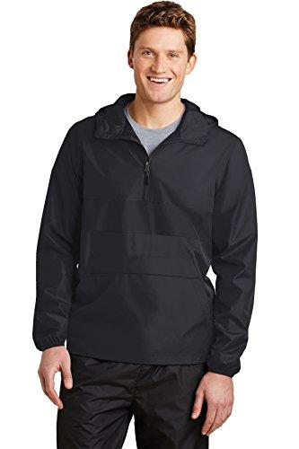 Sport-Tek® Zipped Pocket Anorak. JST65 Black/ Black S (Sport-tek Anorak)