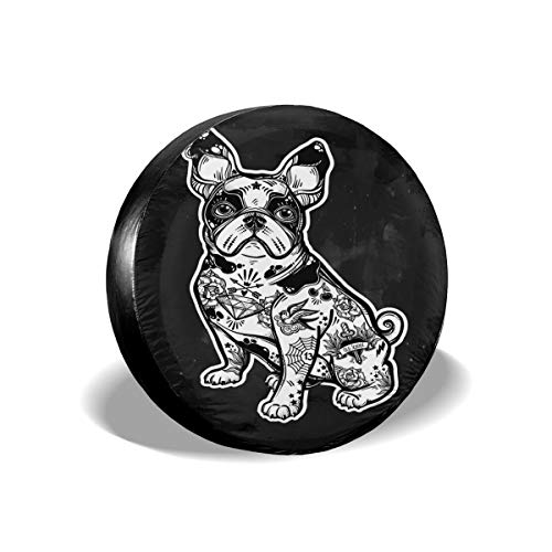 Vintage Beautiful Bulldog Pug Dog With Body Decorated In Flash Tattoos Character For Pet Lovers10 Tire Cover Car Accession Travel Decor